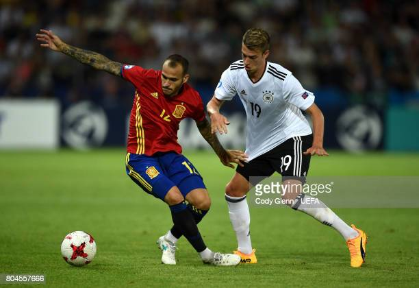Sandro Ramrez of Spain and Janik Haberer of Germany during their UEFA European Under21 Championship 2017 final match on June 30 2017 in Krakow Poland