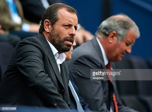 Sandro Rosell attends day four of the Barcelona Open Banc Sabadell at the Real Club de Tenis Barcelona on April 21 2016 in Barcelona Spain