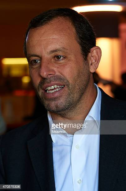 Sandro Rosell attends during day two of the Barcelona Open Bac Sabadell at the Real Club de Tenis Barcelona on April 21 2015 in Barcelona Spain