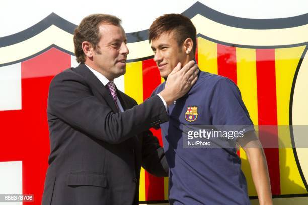 Sandro Rosell former president of FC Barcelona with Neymar Jr in a file image of 2013 in Barcelona Spain