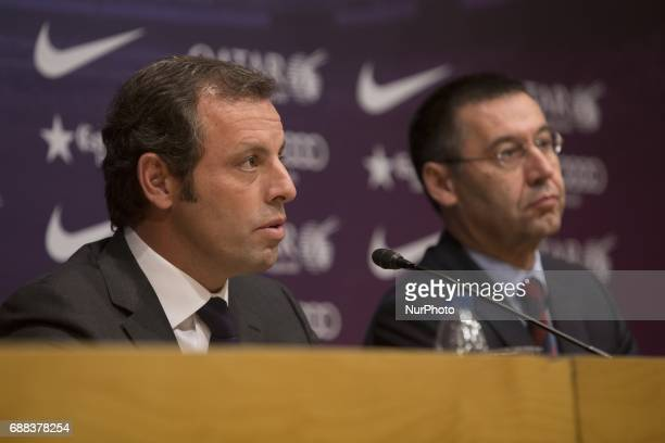 Sandro Rosell former president of FC Barcelona with the actual club's president Josep Maria Bartomeu in a file image of january of 2014 in Barcelona...