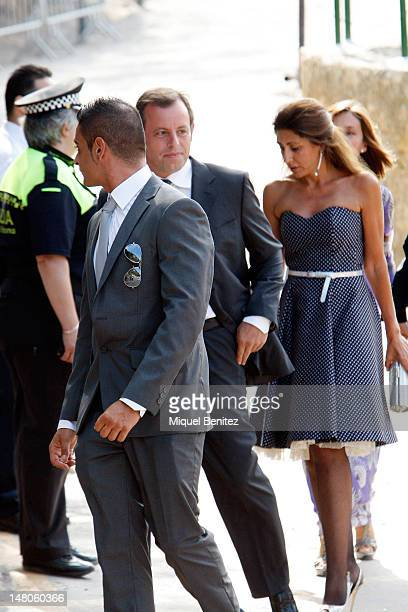 Sandro Rosell President of FC Barcelona attends the wedding of Andres Iniesta and Ana Ortiz at the Castell de Tamarit on July 8 2012 in Tarragona...