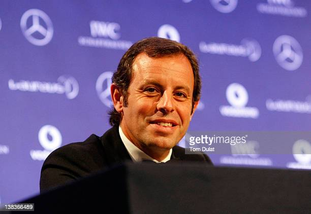 Sandro RosellBarcelona Chairman talks to the media after winning the Laureus World Sportsman of the Year award at the 2012 Laureus World Sports...