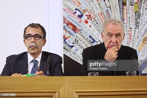 Sandro Ruotolo and Michele Santoro attend the 'Servizio Pubblico' press conference of his new TV Show on October 22 2012 in Rome Italy