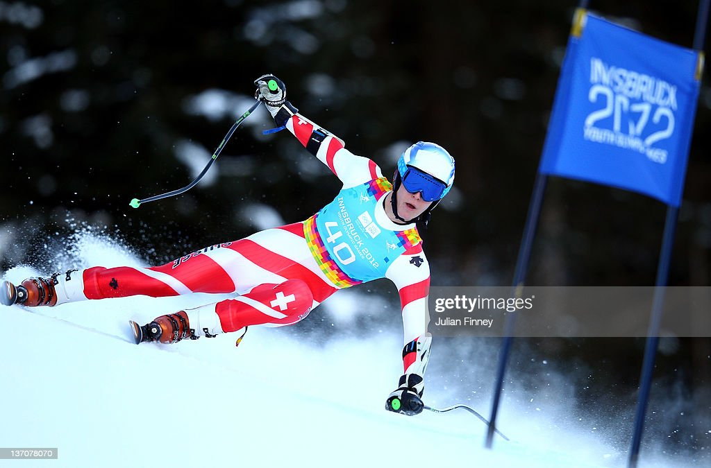 Sandro Simonet of Switzerland skis in the Mens Super Combined event during the Winter Youth Olympic Games on January 15, 2012 in Patscherkofel, Austria.