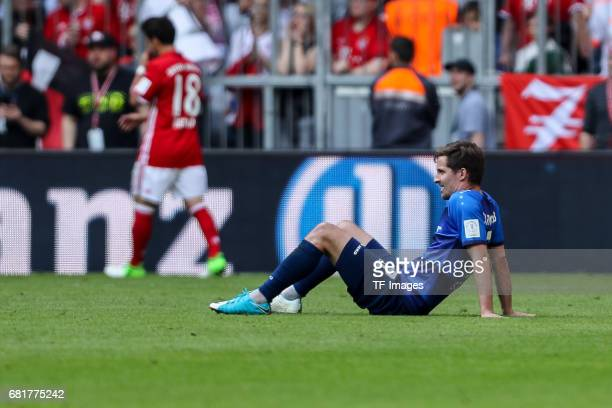 Sandro Sirigu of Darmstadt looks dejected during the Bundesliga match between Bayern Muenchen and SV Darmstadt 98 at Allianz Arena on May 6 2017 in...