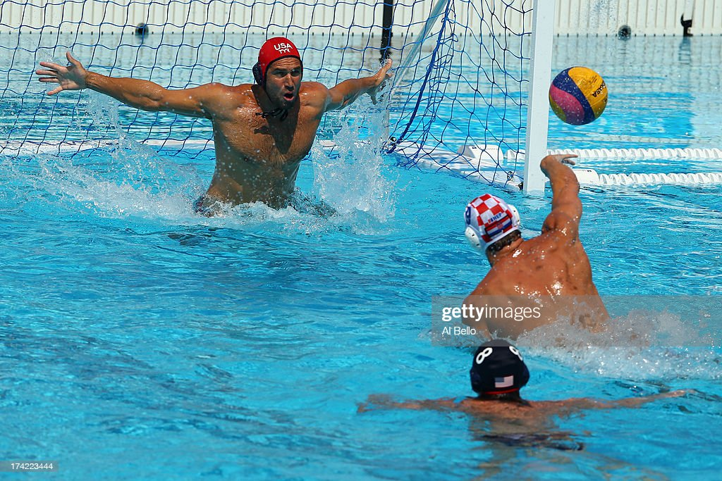 Sandro Sukno of Croatia shoots at goal during the Men's Water Polo first preliminary round match between USA and Croatia during day three of the 15th FINA World Championships at Piscines Bernat Picornell on July 22, 2013 in Barcelona, Spain.
