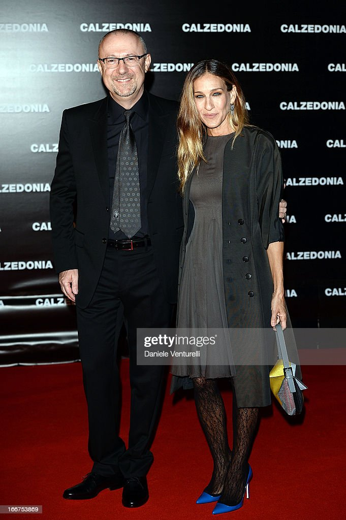 Sandro Veronesi of Calzedonia and Sarah Jessica Parker arrive at the Calzedonia Show Forever Together at Palazzo dei Congressi on April 16, 2013 in Rimini, Italy.
