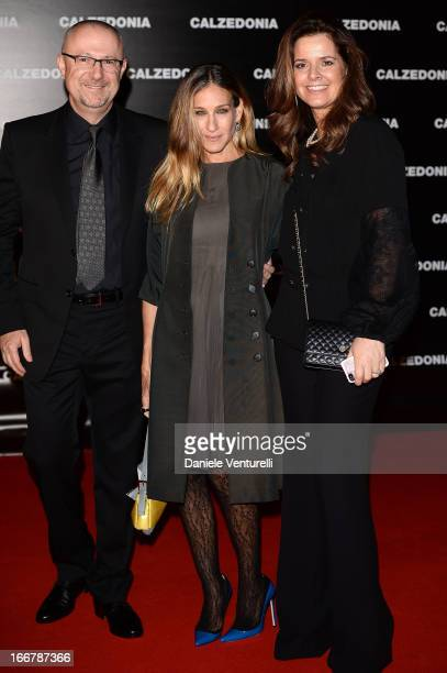 Sandro Veronesi of Calzedonia Sarah Jessica Parker and Michela Gottardello arrive at the Calzedonia Show Forever Together at Palazzo dei Congressi on...