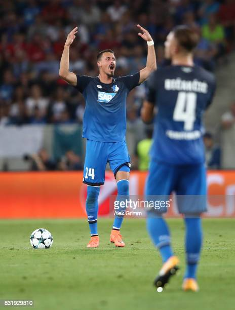 Sandro Wagner and Ermin Bicakcic of Hoffenheim during the UEFA Champions League Qualifying PlayOffs Round First Leg match between 1899 Hoffenheim and...