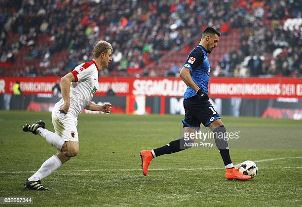 Sandro Wagner of 1899 Hoffenheim scores the first goal during the Bundesliga match between FC Augsburg and TSG 1899 Hoffenheim at WWK Arena on...
