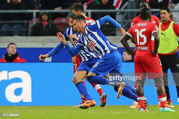 Sandro Wagner of Berlin celebrates his team's second goal during the Bundesliga match between VfB Stuttgart and Hertha BSC Berlin at MercedesBenz...
