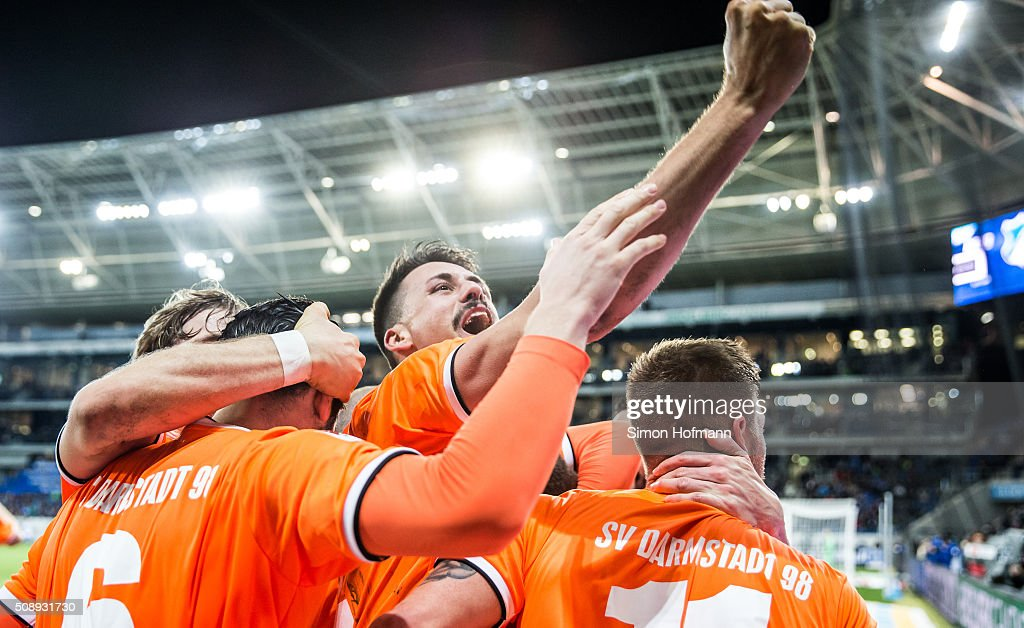 <a gi-track='captionPersonalityLinkClicked' href=/galleries/search?phrase=Sandro+Wagner&family=editorial&specificpeople=595390 ng-click='$event.stopPropagation()'>Sandro Wagner</a> of Darmstadt and his team mates celebrate their second goak during the Bundesliga match between 1899 Hoffenheim and SV Darmstadt 98 at Wirsol Rhein-Neckar-Arena on February 7, 2016 in Sinsheim, Germany.