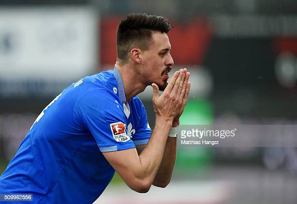 Sandro Wagner of Darmstadt celebrates after scoring his team's first goal during the match between SV Darmstadt 98 and Bayer Leverkusen at...