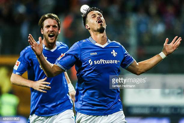 Sandro Wagner of Darmstadt celebrates his team's first goal with team mate Peter Niemeyer during the Bundesliga match between SV Darmstadt 98 and...