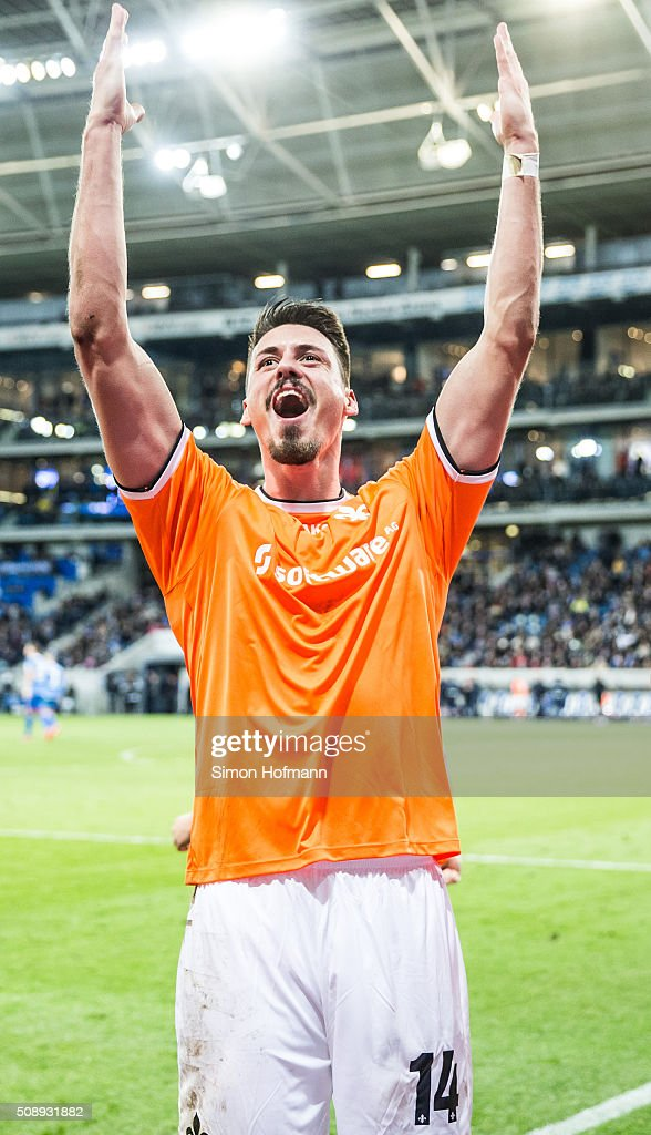 <a gi-track='captionPersonalityLinkClicked' href=/galleries/search?phrase=Sandro+Wagner&family=editorial&specificpeople=595390 ng-click='$event.stopPropagation()'>Sandro Wagner</a> of Darmstadt celebrates his team's second goal during the Bundesliga match between 1899 Hoffenheim and SV Darmstadt 98 at Wirsol Rhein-Neckar-Arena on February 7, 2016 in Sinsheim, Germany.