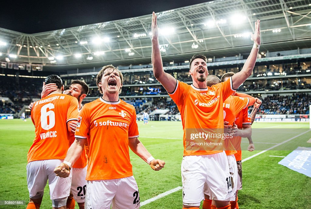 <a gi-track='captionPersonalityLinkClicked' href=/galleries/search?phrase=Sandro+Wagner&family=editorial&specificpeople=595390 ng-click='$event.stopPropagation()'>Sandro Wagner</a> of Darmstadt (R) celebrates his team's second goal during the Bundesliga match between 1899 Hoffenheim and SV Darmstadt 98 at Wirsol Rhein-Neckar-Arena on February 7, 2016 in Sinsheim, Germany.