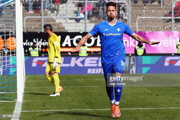 Sandro Wagner of Darmstadt celebrates his team's second goal during the Bundesliga match between SV Darmstadt 98 and FC Ingolstadt at MerckStadion am...