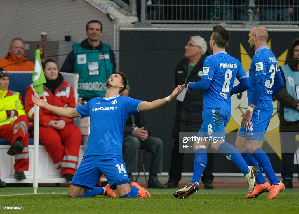 Sandro Wagner of Darmstadt celebrates scoring his goal during the Bundesliga match between VfL Wolfsburg and Hertha BSC Berlin at Volkswagen Arena on March 19, 2016 in Wolfsburg, Germany.