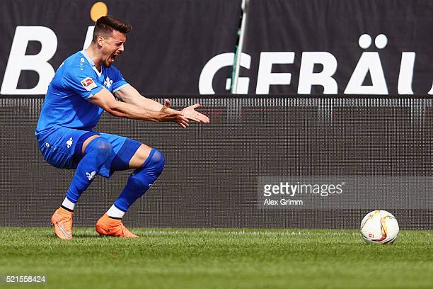 Sandro Wagner of Darmstadt reacts during the Bundesliga match between SV Darmstadt 98 and FC Ingolstadt at MerckStadion am Boellenfalltor on April 16...