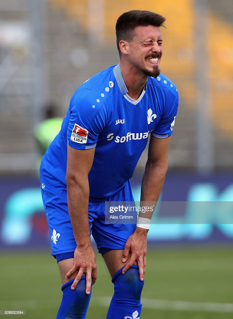 Sandro Wagner of Darmstadt reacts during the Bundesliga match between SV Darmstadt 98 and Eintracht Frankfurt at Merck-Stadion am Boellenfalltor on April 30, 2016 in Darmstadt, Hesse.