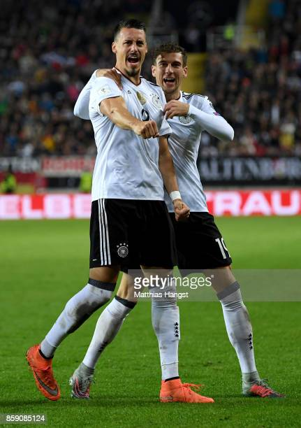 Sandro Wagner of Germany celebrate with team mate Leon Goretzka after he heads the 2nd goal during the FIFA 2018 World Cup Qualifier between Germany...