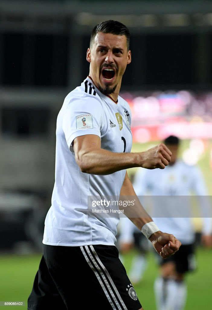 Sandro Wagner of Germany celebrates after he heads the 2nd goal during the FIFA 2018 World Cup Qualifier between Germany and Azerbaijan at Fritz-Walter-Stadion on October 8, 2017 in Kaiserslautern, Rhineland-Palatinate.