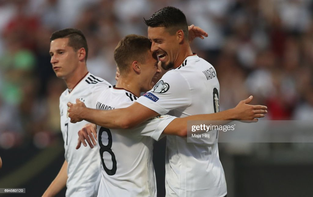 Sandro Wagner of Germany celebrates scoring his sides third goal with Leon Goretzka of Germany during the FIFA 2018 World Cup Qualifier between Germany and San Marino at Stadion Nurnberg on June 10, 2017 in Nuremberg, Bavaria.