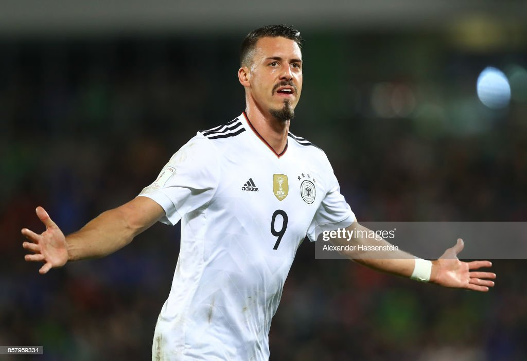 Sandro Wagner of Germany celebrates scoring the second goal during the FIFA 2018 World Cup Qualifier between Northern Ireland and Germany at Windsor Park on October 5, 2017 in Belfast, Northern Ireland.