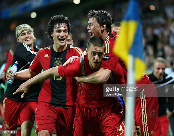 Sandro Wagner of Germany celebrates with his team mates after scoring his team's fourth goal during the UEFA European U21 Championship Final match...