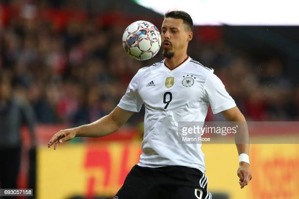 Sandro Wagner of Germany controls the ball during the international friendly match between Denmark v Germany on June 6 2017 in Brondby Denmark