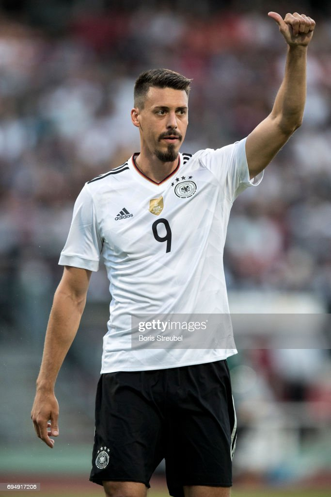 Sandro Wagner of Germany reacts during the FIFA 2018 World Cup Qualifier between Germany and San Marino at Stadion Nuernberg on June 10, 2017 in Nuremberg, Germany.