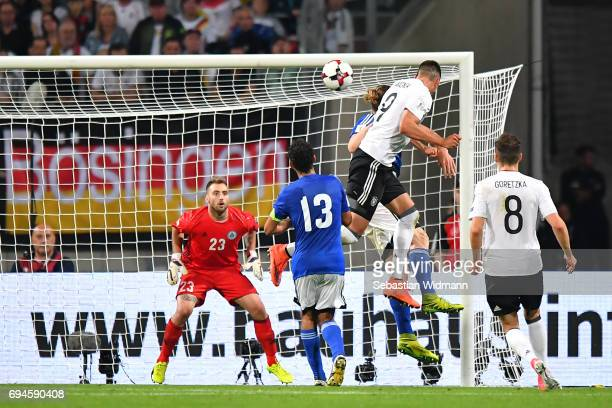 Sandro Wagner of Germany scores his teams seventh goal during the FIFA 2018 World Cup Qualifier between Germany and San Marino at Stadion Nurnberg on...