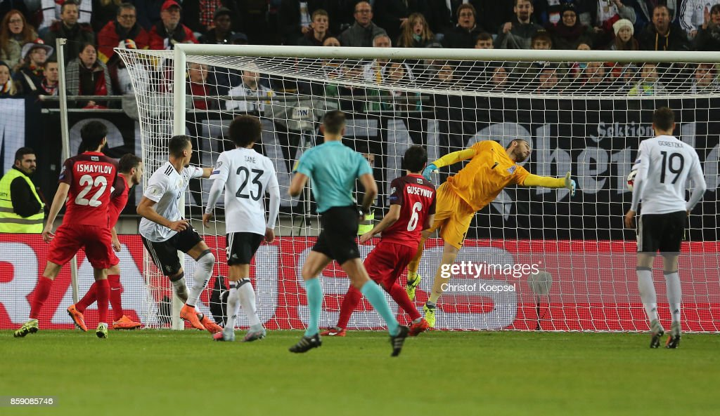 Sandro Wagner of Germany (2nd L) scores the seconsd goal during the FIFA 2018 World Cup Qualifier between Germany and Azerbaijan at Fritz-Walter-Stadion on October 8, 2017 in Kaiserslautern, Germany.