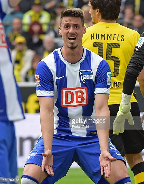 Sandro Wagner of Hertha BSC gestures during the game between Borussia Dortmund and Hertha BSC on May 9 2015 in Dortmund Germany