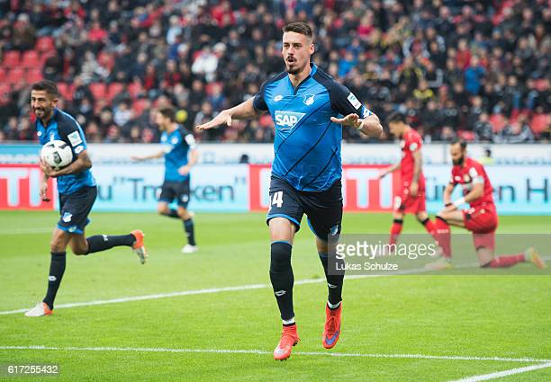 Sandro Wagner of Hoffenheim celebrates his goal to 20 for Hoffenheim during the Bundesliga match between Bayer 04 Leverkusen and TSG 1899 Hoffenheim...