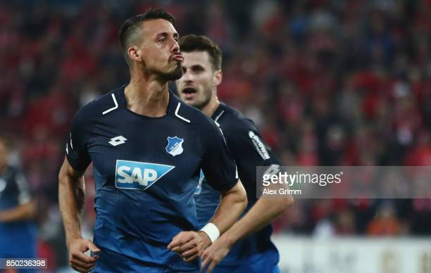 Sandro Wagner of Hoffenheim celebrates his team's second goal during the Bundesliga match between 1 FSV Mainz 05 and TSG 1899 Hoffenheim at Opel...