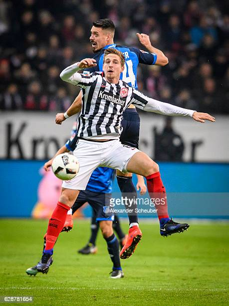 Sandro Wagner of Hoffenheim challenges Bastian Oczipka of Frankfurt during the Bundesliga match between Eintracht Frankfurt and TSG 1899 Hoffenheim...