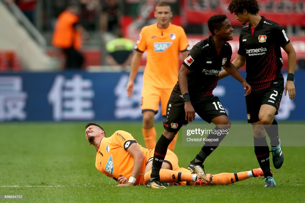 Sandro Wagner of Hoffenheim lies on the pitch during the Bundesliga match between Bayer 04 Leverkusen and TSG 1899 Hoffenheim at BayArena on August 26, 2017 in Leverkusen, Germany.