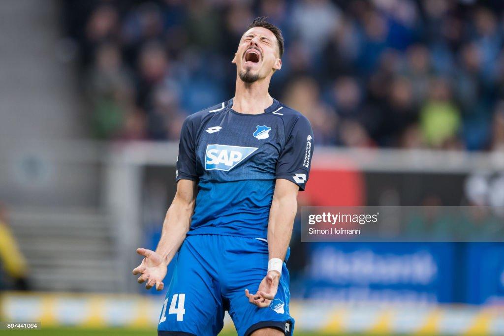 Sandro Wagner of Hoffenheim reacts during the Bundesliga match between TSG 1899 Hoffenheim and Borussia Moenchengladbach at Wirsol Rhein-Neckar-Arena on October 28, 2017 in Sinsheim, Germany.