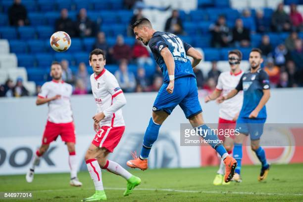 Sandro Wagner of Hoffenheim scores his team's first goal during the UEFA Europa League Group C match between 1899 Hoffenheim and Sporting Braga at...