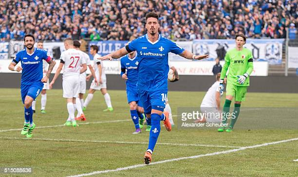 Sandro Wagner of SV Darmstadt 98 celebrates the second goal for his team during the first bundesliga match between SV Darmstadt 98 and FC Augsburg at...