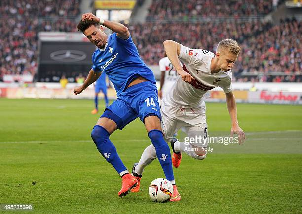 Sandro Wagner of SV Darmstadt 98 is challenged by Timo Baumgartl of VfB Stuttgart during the Bundesliga match between VfB Stuttgart and SV Darmstadt...