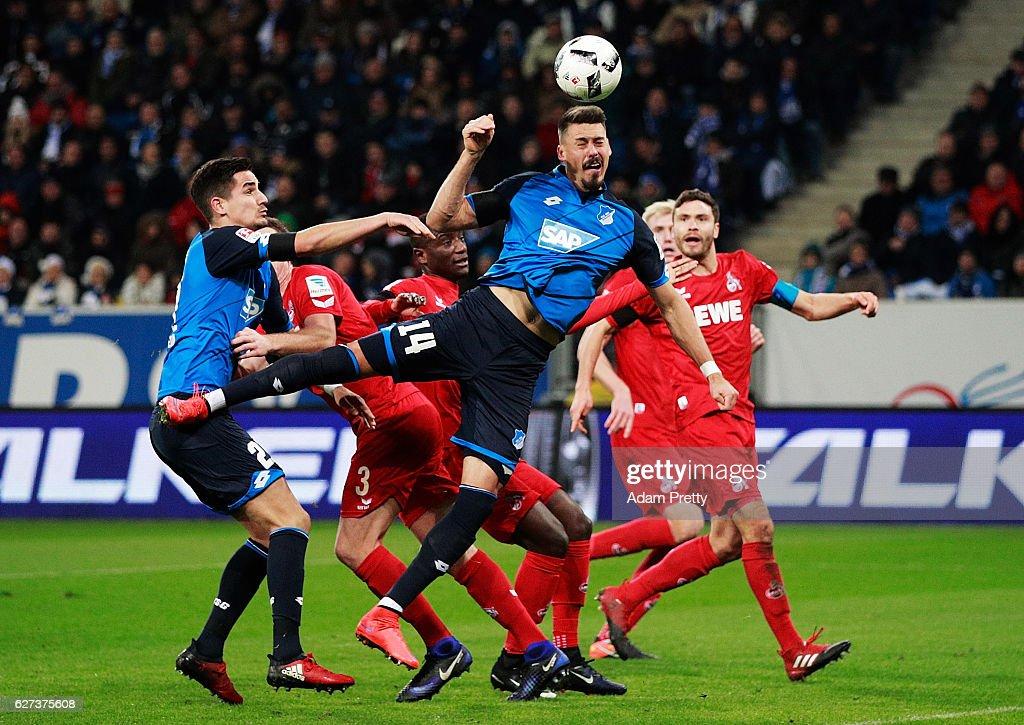 Sandro Wagner of TSG 1899 Hoffenheim celebrates scores the third goal during the Bundesliga match between TSG 1899 Hoffenheim and 1. FC Koeln at Wirsol Rhein-Neckar-Arena on December 3, 2016 in Sinsheim, Germany.