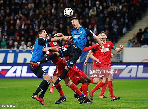 Sandro Wagner of TSG 1899 Hoffenheim celebrates scores the third goal during the Bundesliga match between TSG 1899 Hoffenheim and 1 FC Koeln at...