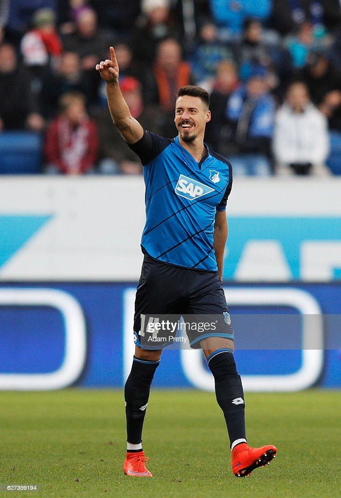 Sandro Wagner of TSG 1899 Hoffenheim celebrates scoring a goal during the Bundesliga match between TSG 1899 Hoffenheim and 1. FC Koeln at Wirsol Rhein-Neckar-Arena on December 3, 2016 in Sinsheim, Germany.