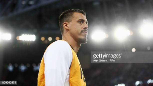 Sandro Wagner reacts as he warms up during the FIFA Confederations Cup Russia 2017 final between Chile and Germany at Saint Petersburg Stadium on...