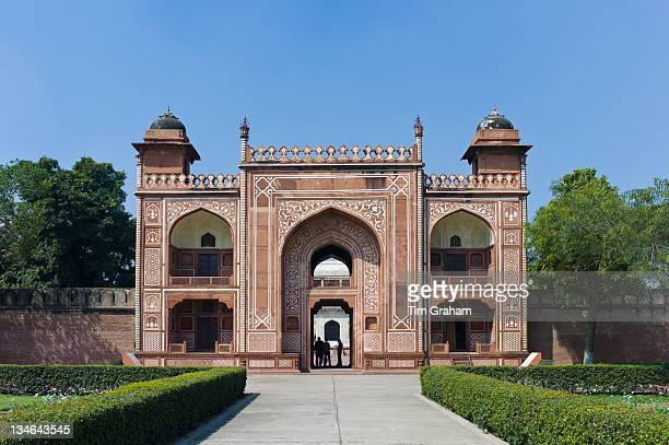 Sandstone and marble gateway to 17th Century Tomb of Etimad Ud Doulah 17th Century Mughal tomb built 1628 Agra India