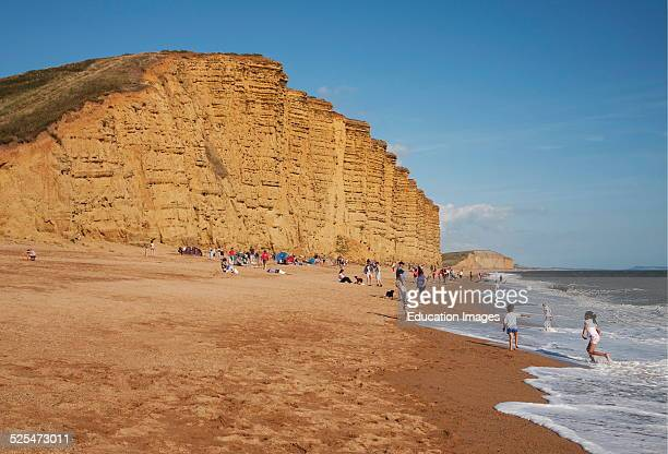 Sandstone cliffs and beach West Bay Bridport Dorset England