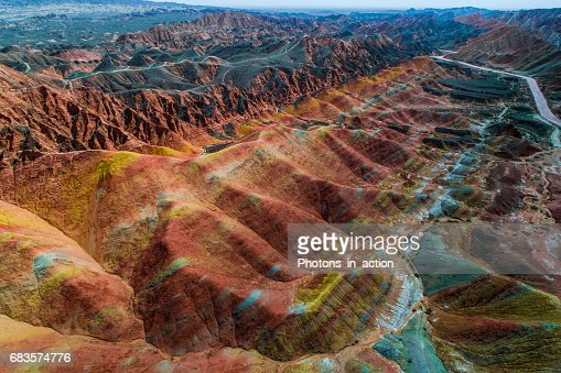 Sandstone rainbow mountains in Zhangye National Geopark : Stock Photo